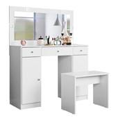 Penteadeira Camarim Carisma com Espelho e LED 3 Gavetas e 2 Portas Branco Banco Banqueta Ideal Luxo para Quarto Sala Salão Estúdio - Demóbile