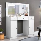 Penteadeira Camarim Carisma com Espelho e LED 3 Gavetas e 2 Portas Branco Luxo para Quarto Sala Salão Estúdio - Demóbile
