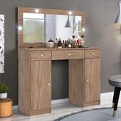 Penteadeira Camarim Carisma com Espelho e LED 3 Gavetas e 2 Portas Nogal Luxo para Quarto Sala Salão Estúdio - Demóbile