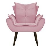 Poltrona Cadeira Decorativa Apolo Pés Palito Tabaco para Recepção Sala de Estar Consultório Escritório Quarto Suede Rosa - Amarena