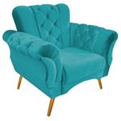 Poltrona Cadeira Decorativa Capitonê Berlim Suede Azul Turquesa Sala Quarto Recepção Luxo Pés Palito - AM Decor