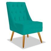 Poltrona Cadeira Decorativa Capitonê Lis Azul Turquesa Suede - AM Decor