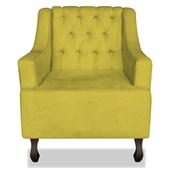 Poltrona Cadeira Decorativa Capitonê Luis XV Dante Amarelo Corano - AM Decor