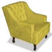 Poltrona Cadeira Decorativa Capitonê Luis XV Dante Amarelo Suede - AM Decor