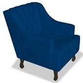 Poltrona Cadeira Decorativa Capitonê Luis XV Dante Azul Marinho Corano - AM Decor
