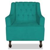 Poltrona Cadeira Decorativa Capitonê Luis XV Dante Azul Turquesa Corano - AM Decor
