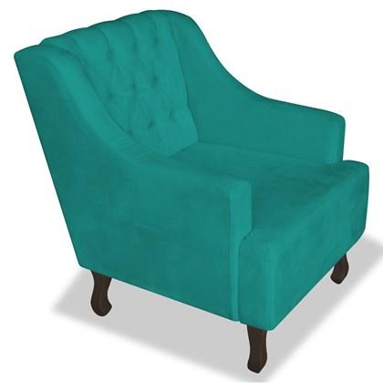 Poltrona Cadeira Decorativa Capitonê Luis XV Dante Azul Turquesa Suede - AM Decor