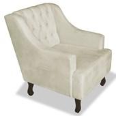 Poltrona Cadeira Decorativa Capitonê Luis XV Dante Bege Suede - AM Decor