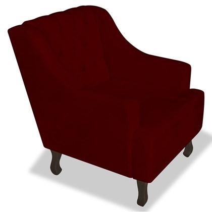 Poltrona Cadeira Decorativa Capitonê Luis XV Dante Bordô Suede - AM Decor
