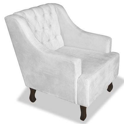Poltrona Cadeira Decorativa Capitonê Luis XV Dante Branco Suede - AM Decor