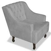 Poltrona Cadeira Decorativa Capitonê Luis XV Dante Cinza Suede - AM Decor