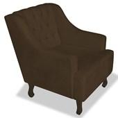 Poltrona Cadeira Decorativa Capitonê Luis XV Dante Marrom Corano - AM Decor
