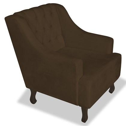 Poltrona Cadeira Decorativa Capitonê Luis XV Dante Marrom Suede - AM Decor