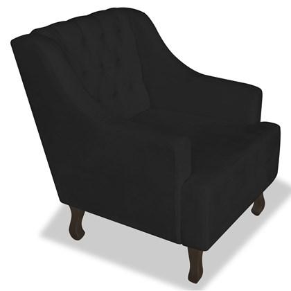 Poltrona Cadeira Decorativa Capitonê Luis XV Dante Preto Suede - AM Decor