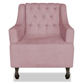 Poltrona Cadeira Decorativa Capitonê Luis XV Dante Rosê Suede - AM Decor