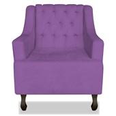Poltrona Cadeira Decorativa Capitonê Luis XV Dante Roxo Suede - AM Decor