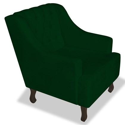 Poltrona Cadeira Decorativa Capitonê Luis XV Dante Verde Suede - AM Decor