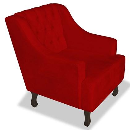 Poltrona Cadeira Decorativa Capitonê Luis XV Dante Vermelho Suede - AM Decor