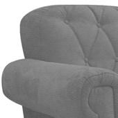 Poltrona Cadeira Decorativa Dani Corano Cinza Capitonê para Consultório Recepção Escritório Sala de Estar Quarto - AM Decor