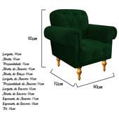 Poltrona Cadeira Decorativa Dani Suede Verde para Sala de Estar Recepção Escritório Consultório Quarto Capitonê - AM Decor
