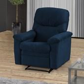 Poltrona Cadeira Sofá Reclinavél Audi Suede Azul Marinho para Sala de Estar Recepção Escritório Luxo - Matrix