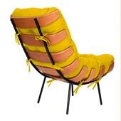 Poltrona Decorativa Costela Base Fixa Corano Amarelo - Amarena