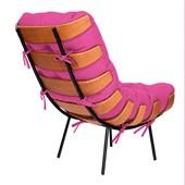 Poltrona Decorativa Costela Base Fixa Corano Pink - Amarena