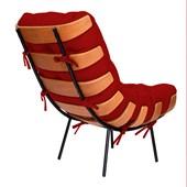 Poltrona Decorativa Costela Base Fixa Corano Vermelho - Amarena