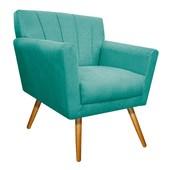 Poltrona Decorativa Laura Pés Palito Mel Suede Azul Tiffany - Amarena Móveis