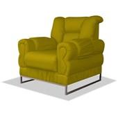 Poltrona do Papai Cadeira Decorativa Nancy Estofada Com Base Cromada Corano Amarelo para Recepção Quarto Sala de Estar - AM Decor