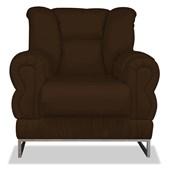 Poltrona do Papai Cadeira Decorativa Nancy Estofada Com Base Cromada Corano Marrom para Quarto Sala de Estar Recepção Luxo - AM Decor