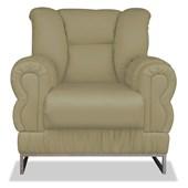 Poltrona do Papai Cadeira Nancy Estofada Com Base Cromada Conforto Corano Bege para Sala de Estar Recepção Escritório Quarto - AM Decor