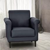 Poltrona Sofá Cadeira Decorativa Betina Corano Preto para Sala de Estar Recepção Quarto Escritório Consultório - Matrix