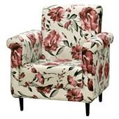 Poltrona Sofá Cadeira Decorativa Betina Suede Floral Vermelho para Sala de Estar Recepção Quarto Escritório Consultório - Matrix