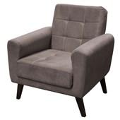 Poltrona Sofá Cadeira Decorativa Lívia Suede Cinza para Sala de Estar Recepção Quarto Escritório Consultório - Matrix