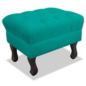 Puf Pufe Banquinho Strass Retrô Luis XV Decorativo Quadrado Corano Azul Turquesa para Sala de Estar Quarto - AM Decor