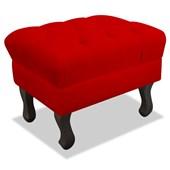 Puf Pufe Pufinho Banquinho Strass Retrô Luis XV Quadrado Corano Vermelho para Sala de Estar Quarto -AM Decor