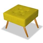 Pufe Puff Puf Banqueta Decorativo Quadrado Bia Corano Amarelo para Escritório Sala de Estar Recepção Quarto Luxo - AM Decor