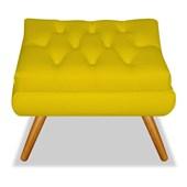 Pufe Puff Puf Decorativo Quadrado Marcela Pés Palito Capitonê Suede Amarelo Sala de Estar Quarto - AM Decor