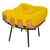 Puff Decorativo Costela Base Fixa Corano Amarelo - Amarena