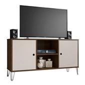 Rack Bancada Retrô 50557 Iris 115 cm Cedro e Nude para TV de até 50 Polegadas Sala de Estar Recepção - AM Decor