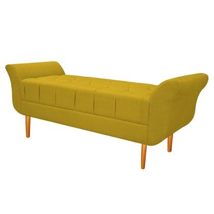 Recamier Estofado Ari 195 cm King Size Suede Amarelo - Amarena Móveis