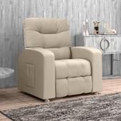 Sofá Cadeira Poltrona do Papai Reclinavél Azera Suede Bege para Sala de Estar Recepção Quarto Escritório Luxo - Matrix