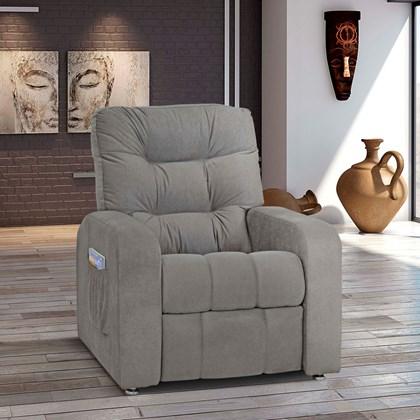 Sofá Cadeira Poltrona do Papai Reclinavél Azera Suede Cinza  para Sala de Estar Recepção Quarto Escritório Luxo - Matrix