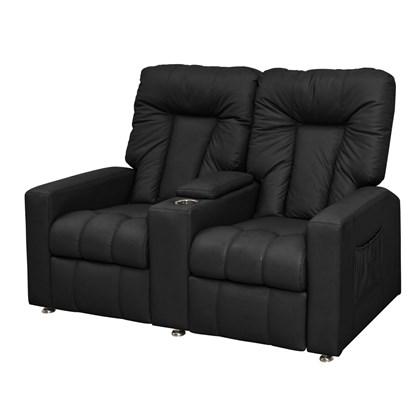 Sofá Cadeira Poltrona do Papai Reclinavél Jetta 2 Lugares Corano Preto Conforto Sala de Estar Escritório Quarto - Matrix