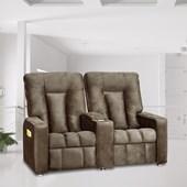 Sofá Cadeira Poltrona do Papai Reclinavél Jetta 2 Lugares Suede Marrom Conforto Sala de Estar Escritório Quarto - Matrix