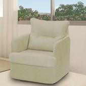 Sofá Cadeira Poltrona Reclinavél de Balanço Amamentação Peppa Suede Bege Quarto - Matrix