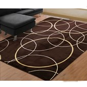 Tapete 2,00 X 2,40 Veludo Estampado Redondo Marrom/Bege Geometrico - Amarena Móveis