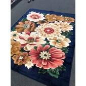 Tapete Carpete Felpudo Alto Relevo Floral 240x200 cm Azul Marinho para Sala de Estar Recepção Quarto - AM Decor