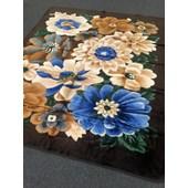 Tapete Carpete Felpudo Macio Pelo Baixo Alto Relevo Floral 240x200 cm Marrom para Sala de Estar Recepção Quarto Luxo - AM Decor